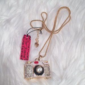 Betsey Johnson Crystal Camera Necklace NWT